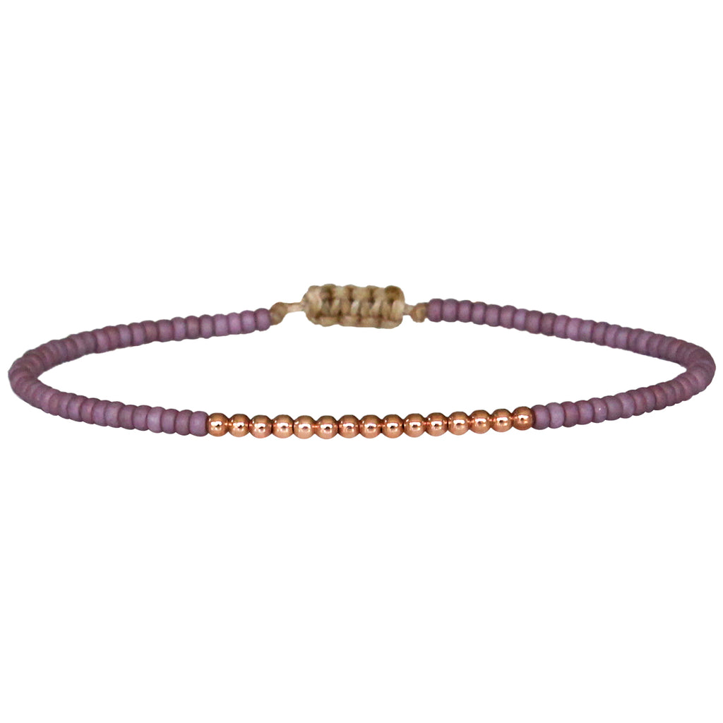 PETITE ROSE BRACELET WITH 14K ROSE GOLD FILLED BEADS