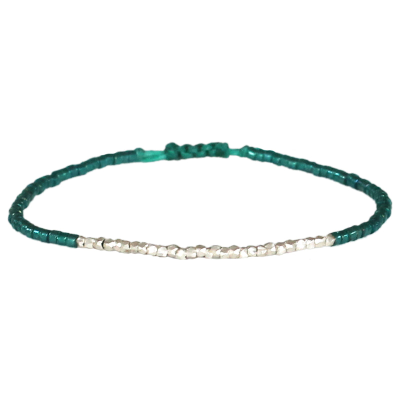 EMERALD GREEN & SILVER SINGLE WRAP BRACELET