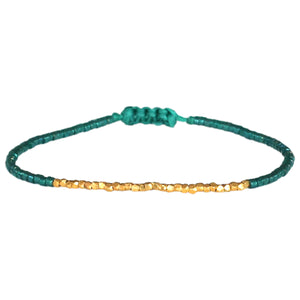 EMERALD GREEN & GOLD SINGLE WRAP BRACELET