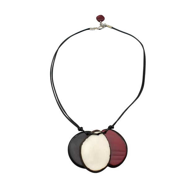Red, White and Black Mix Vegetable Ivory Necklace