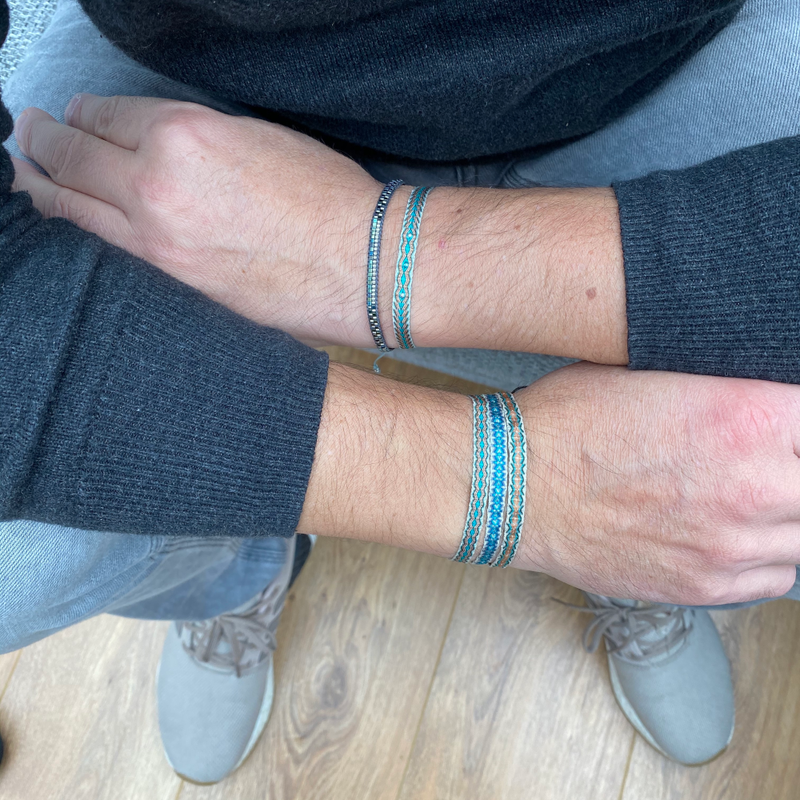SET OF TWO HANDWOVEN BRACELETS FOR HIM