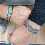 HANDWOVEN BRACELET FOR HIM IN AQUA TONES AND SILVER DETAILS