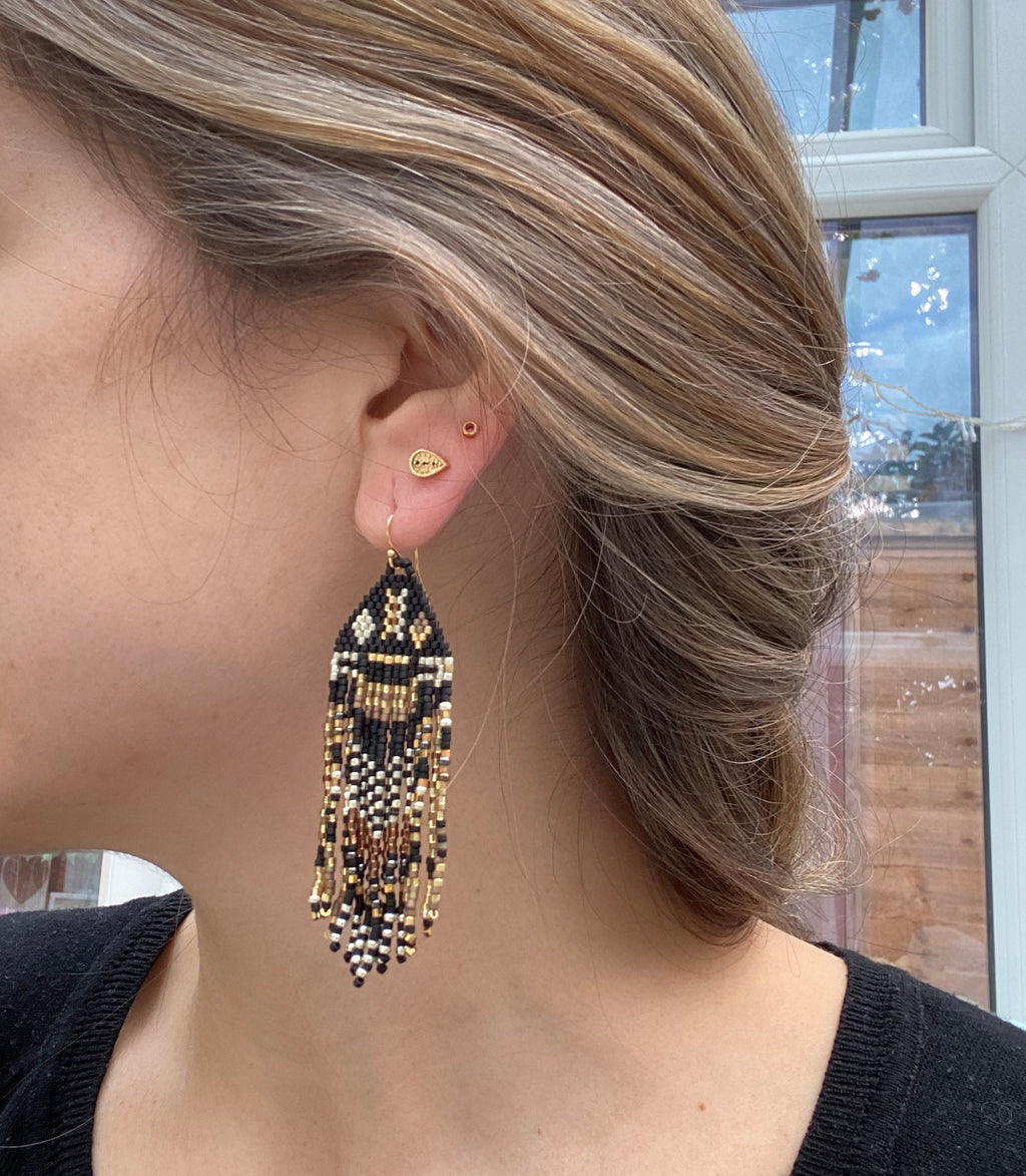 PYRAMID EARRINGS IN BLACK, GOLD & SILVER TONES