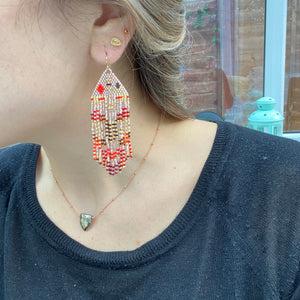 PYRAMID EARRINGS IN SOFT PINK, RED, BURGUNDY & GOLD