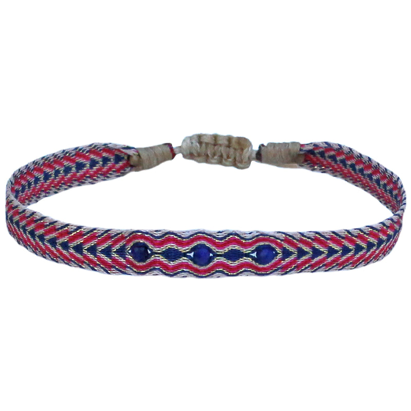 THREE STONES HANDWOVEN SINGLE BRACELET IN RED, BLUE & BEIGE TONES