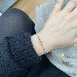 PETIT HEART BRACELET IN PINK, BLUE & GOLD