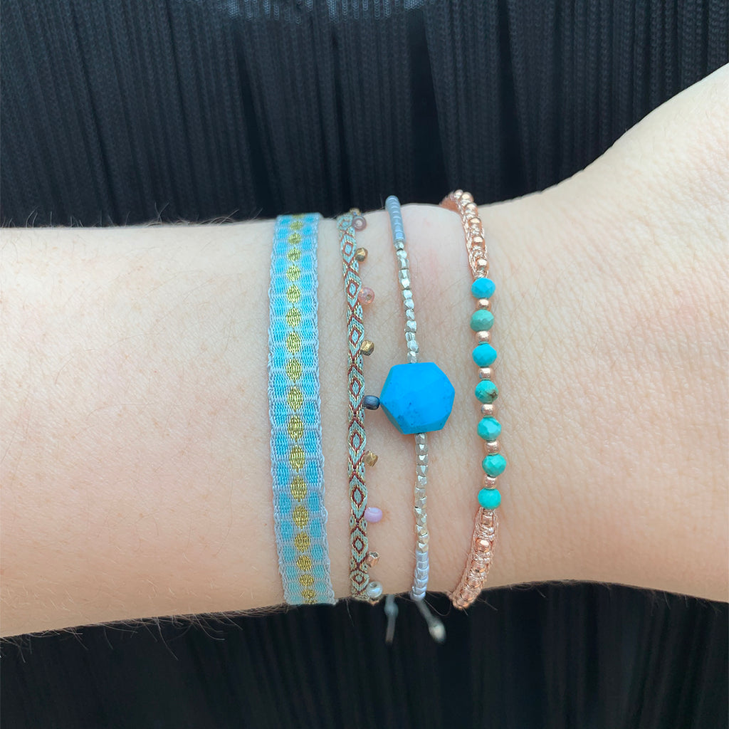 COLORS BRACELET IN MARINE BLUE & BROWN