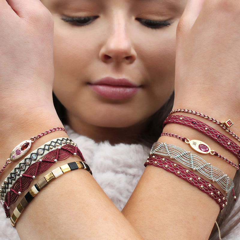 LUXURY MILA BRACELET WITH ROSE GOLD, GARNET AND RUBY