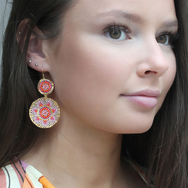 SUMMER EARRINGS IN PINK & GOLD TONES
