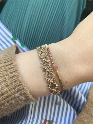 BEAD WEB HANDWOVEN BRACELET IN GOLD & ROSE GOLD