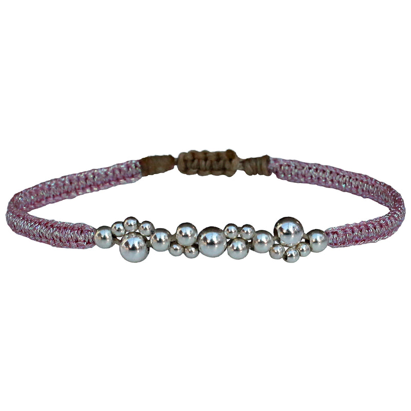 BUBBLE BRACELET IN PINK METALLIC THREADS & SILVER