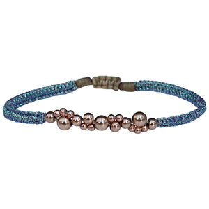 BUBBLE BRACELET IN ROSE GOLD AND LILA METALLIC TREADS