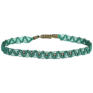 MACRAME ANKLET BRACELET IN GREEN METALLIC TONES & GOLD BEADS