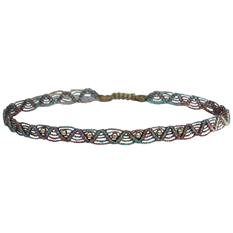 MULTICOLOUR MACRAME ANKLET BRACELET WITH GOLD BEADS