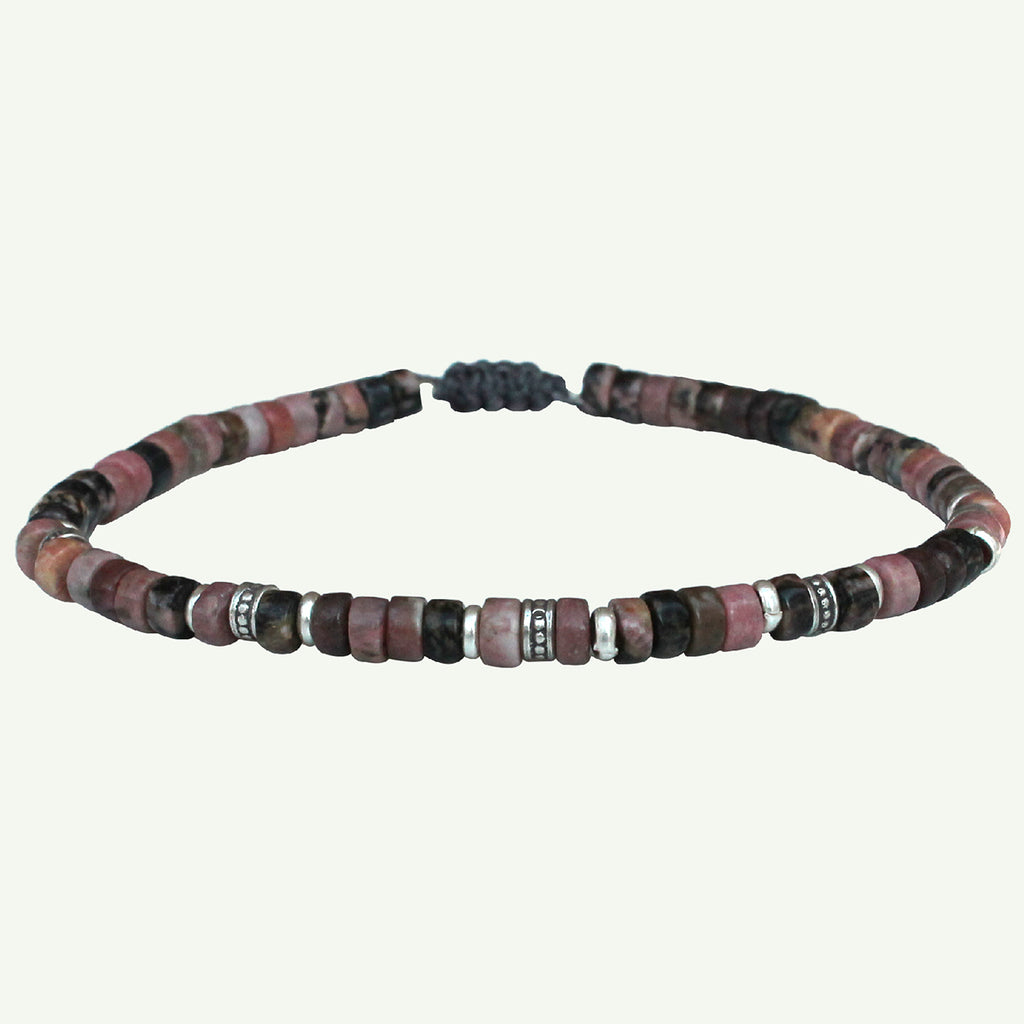 PINK ZEBRA JASPER BRACELET FOR HIM