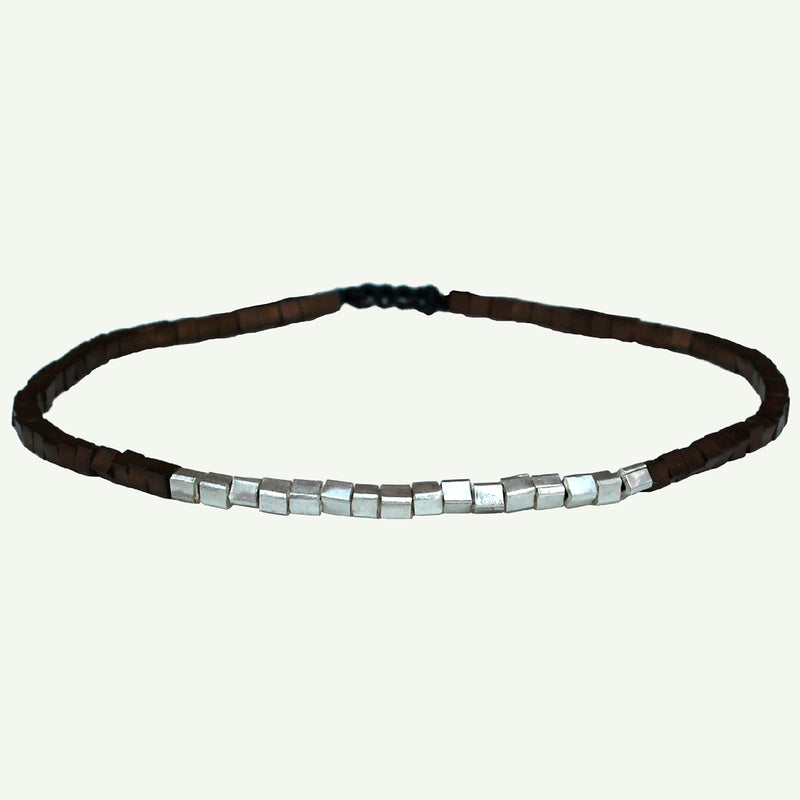 DARK BROWN SQUARE BRACELET FOR HIM