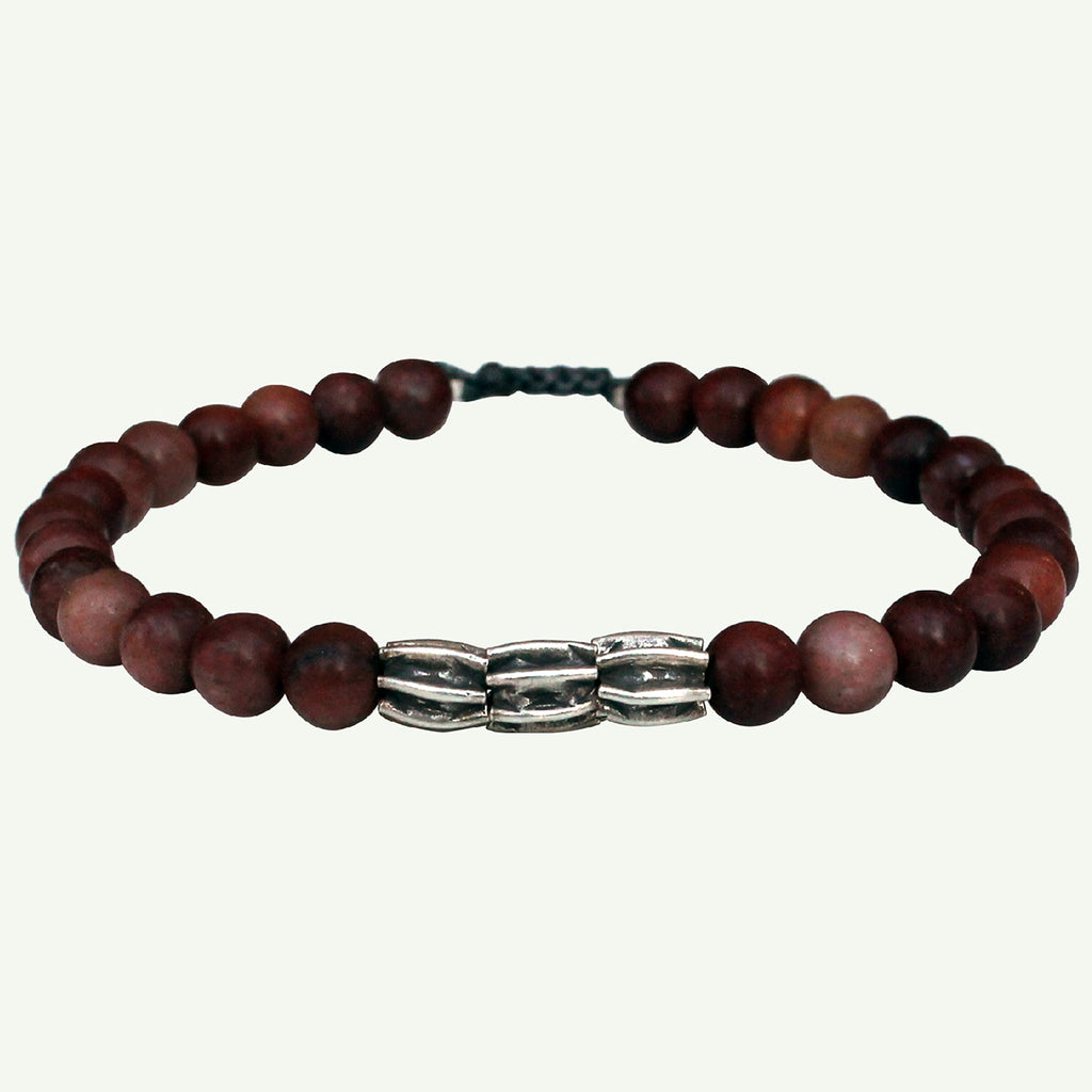 ROCK BRACELET WITH RHODOLITE STONES FOR HIM