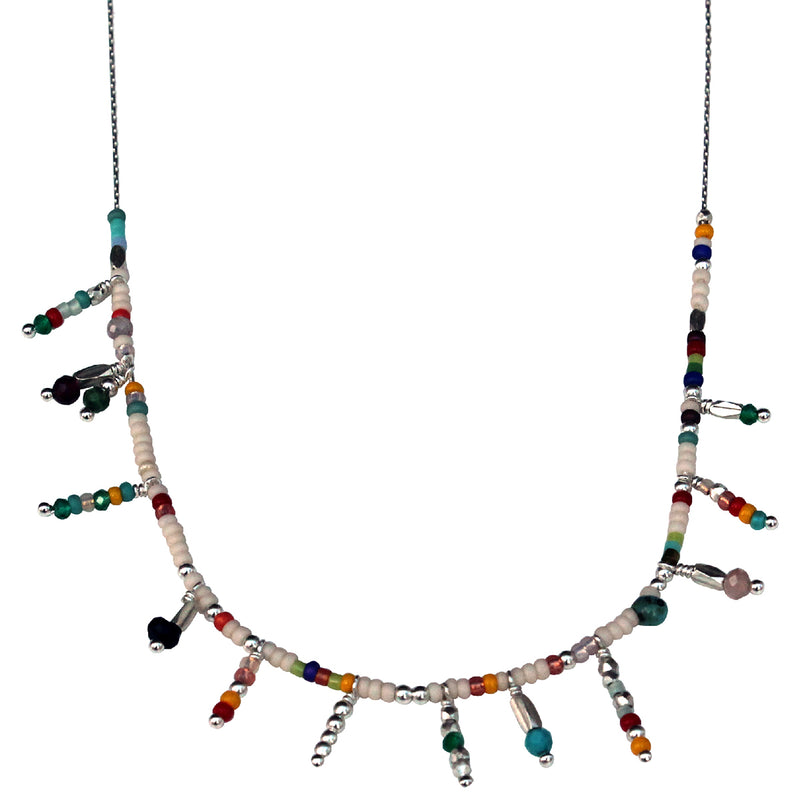 COLOURFUL CHARMS NECKLACE IN SILVER