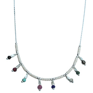 LITTLE COLOURFUL CHARMS NECKLACE IN SILVER