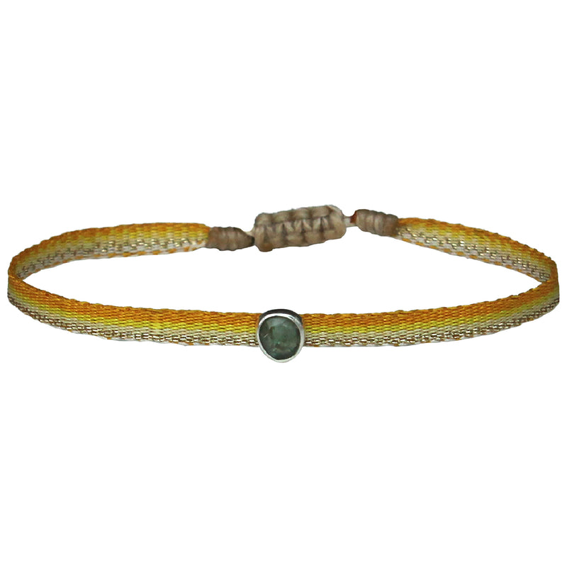 GREEN TOURMALINE PRECIOUS STONE HANDWOVEN BRACELET IN YELLOW TONES