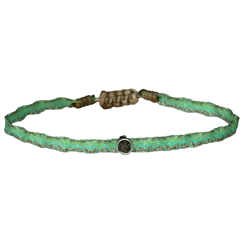 DIAMOND ICE HANDWOVEN BRACELET IN GREEN & SILVER TONES