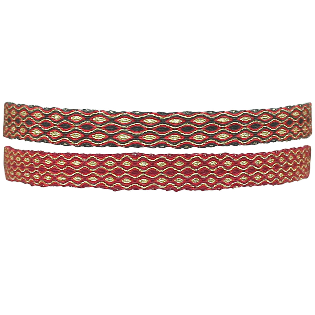 BURGUNDY & GOLD SET OF TWO BRACELETS
