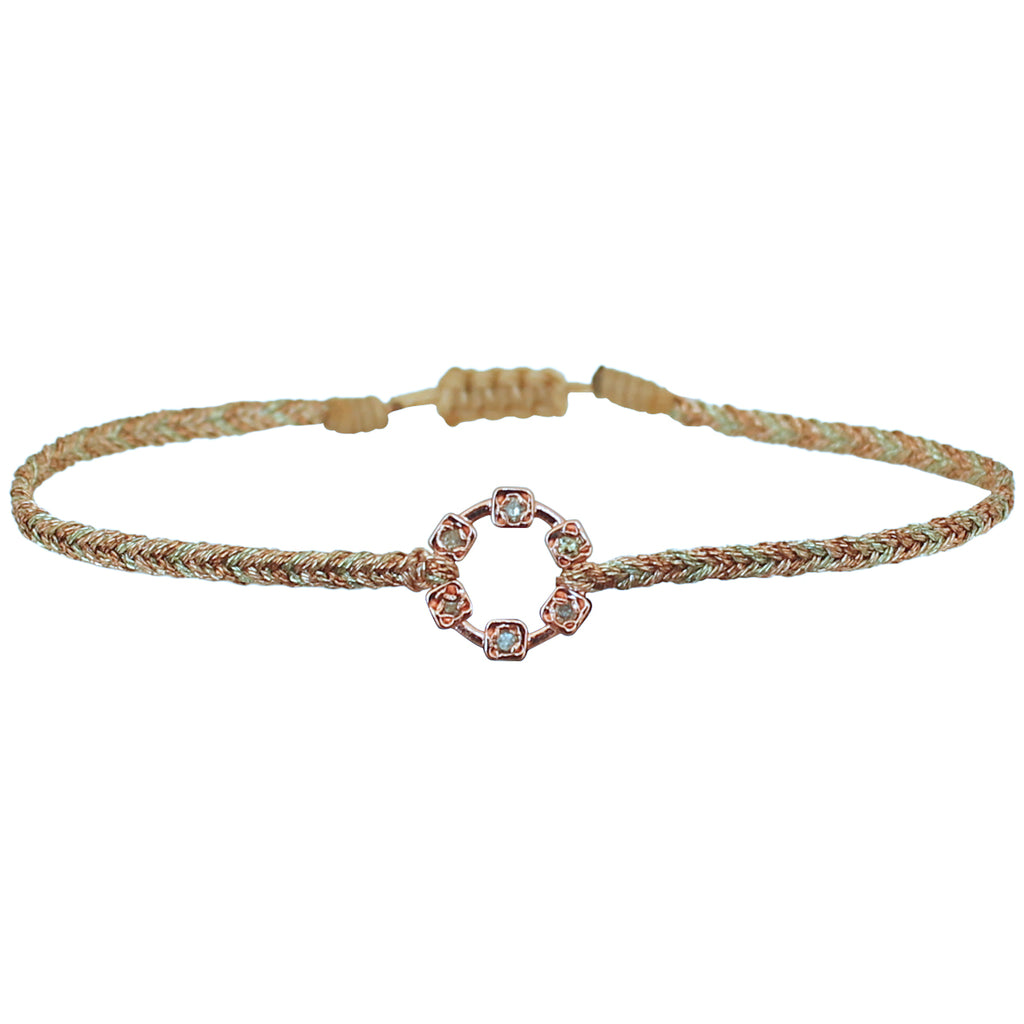DIAMOND HOOP SQUARE BRACELET IN ROSE GOLD