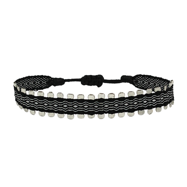 Black and Silver Single Wrap Handwoven Bracelet