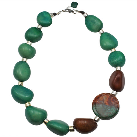 Silver, Brown and Olive Green Vegetable Ivory Statement Necklace with Agate Detail