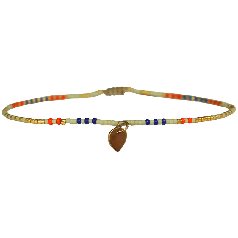 MULTICOLOUR HEART ANKLET BRACELET