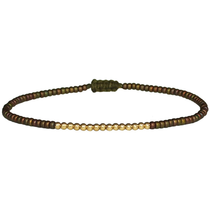 PETITE BRACELET IN MATE OLIVE GREEN & GOLD