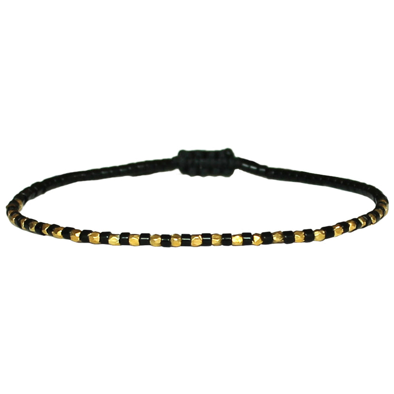 THIN BRACELET IN BLACK & GOLD