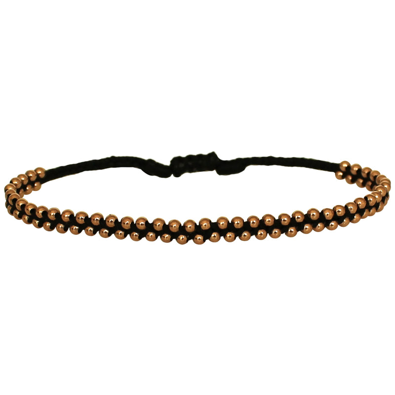 TRENZA HANDWOVEN BRACELET IN BLACK & ROSE GOLD