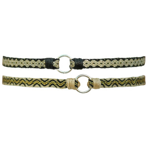 SET OF TWO HOOP BRACELETS IN GOLD & BLACK