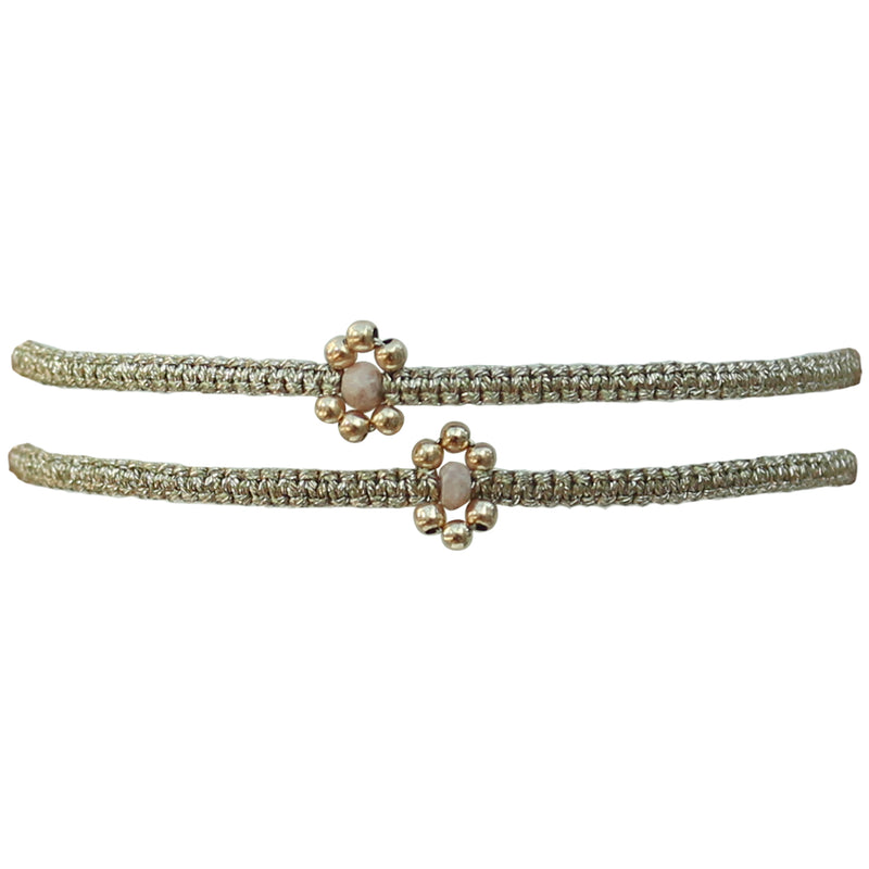 SET OF TWO FLOWER BRACELETS IN BEIGE & GOLD