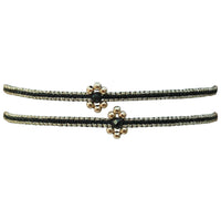 SET OF TWO FLOWER BRACELETS IN BLACK & GOLD