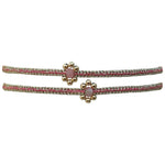 SET OF TWO FLOWER BRACELETS IN PINK & GOLD