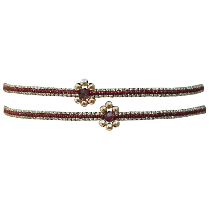 SET OF TWO FLOWER BRACELETS IN BURGUNDY & GOLD