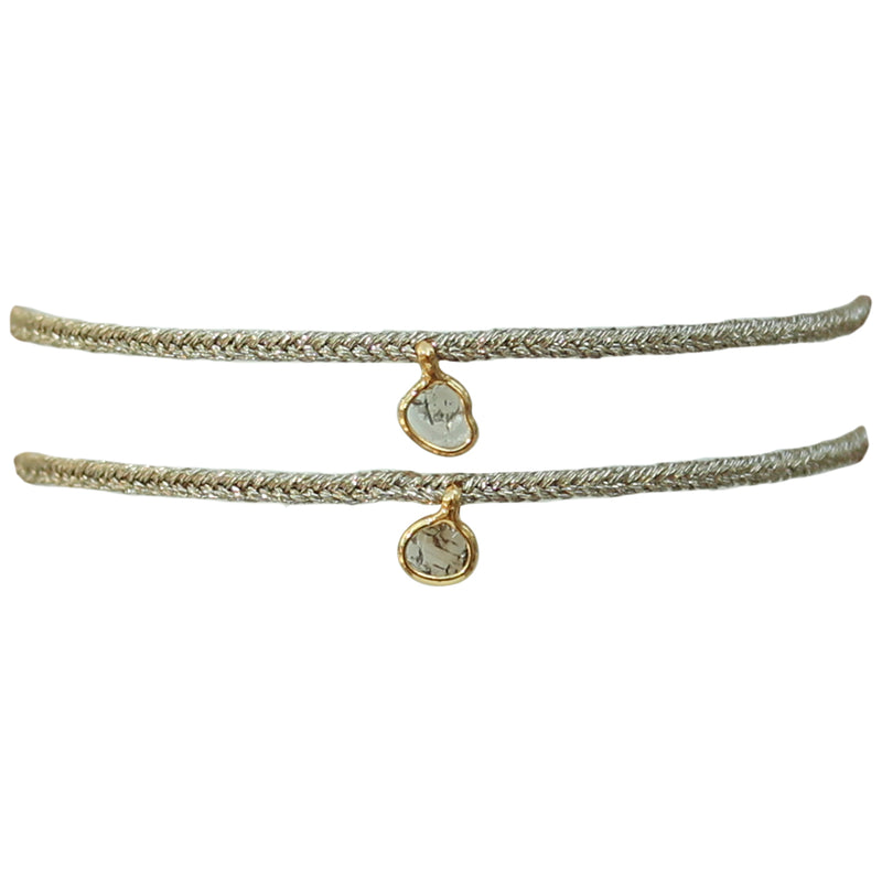 SET OF TWO DIAMOND BRACELETS IN GOLD