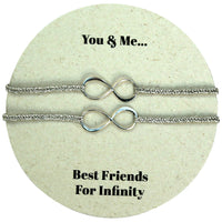 SET OF TWO INFINITY CHARM BRACELETS IN SILVER
