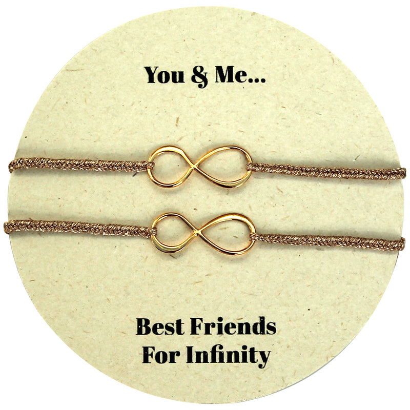 SET OF TWO INFINITY CHARM BRACELETS IN GOLD