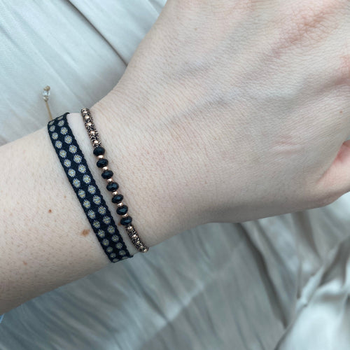 BASIC HANDWOVEN BRACELET IN BLACK, BEIGE & GOLD