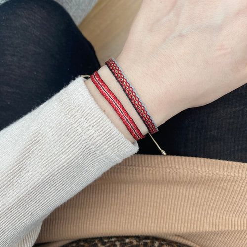 BASIC HANDWOVEN BRACELET IN RED, GREY, BLACK & GOLD