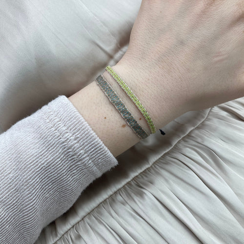 BASIC HANDWOVEN BRACELET IN GOLD, LIGHT GREEN AND BEIGE