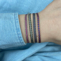 BASIC HANDWOVEN BRACELET IN PINK, GREY & SILVER