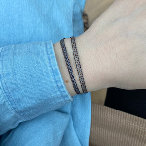 BASIC HANDWOVEN BRACELET IN BEIGE, ROSE GOLD & BLACK