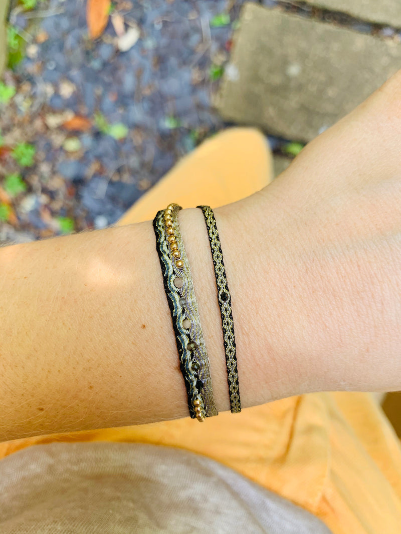 HANDWOVEN BLACK DIAMOND BRACELET IN DARK TONES