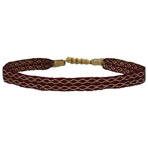 BASIC HANDWOVEN BRACELET IN BURGUNDY AND GOLD