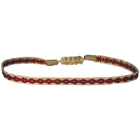 BASIC HANDWOVEN BRACELET IN BEIGE, BURGUNDY, RED & ROSE GOLD