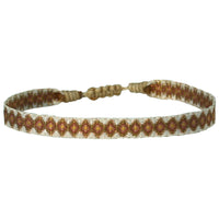 BASIC HANDWOVEN BRACELET IN ROSE GOLD TONES & BEIGE